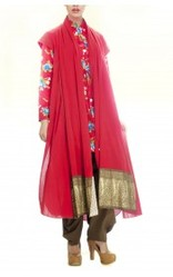 Red Draped Cotton Tunic