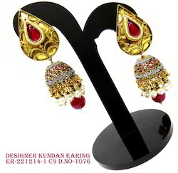 Red Drops Kundan Jhumka