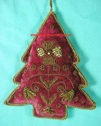zari embroidered christmas hanging