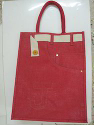 Red Coloure Handle Jute Bag