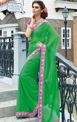 Bottle+Green+Color+Faux+Chiffon+Saree+with+Blouse