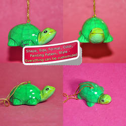 Eco Friendly Green Turtle - Paper Mache Christmas Ornament