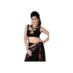 Black Sleeveless Viscose Saree Blouse