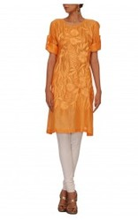 Orange kurta with embroidery in the front