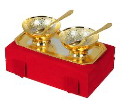 Silver & Gold Plated Brass Bowls Set