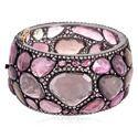 14K Gold Jewelry Pink Tourmaline Diamond Gemstone Bangle
