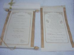 Scroll Rods Custom Printed Scroll Invitations in German and Arabic