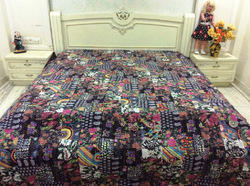Kantha Black Multi Patch Bed Cover