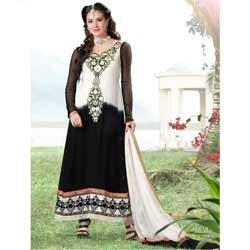 Off White & Black Long Anarkali Suit