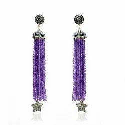 Amethyst+Diamond+Tassel+Earring