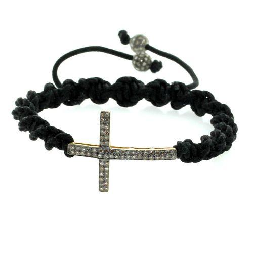 Diamond Holy Cross Charm Macrame Bracelet