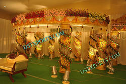 Latest Wedding Golden Crystal Fiber Mandapam