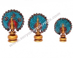 Peacocks Of Wood With Colored Stones