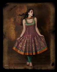Indian Marun Readymade Suit Designer Work