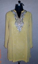 Yellow Sequence Work Kurti