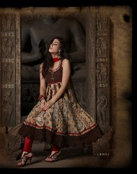 Brown Readymade Suit Anarkali Wear