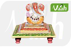 Vaah Decorative Marble Double Chowki Ganesh