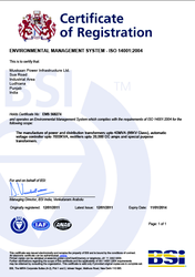 ISO 14001 : 2004 Certificate