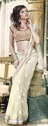 Net Saree with Elegant Pat-1200
