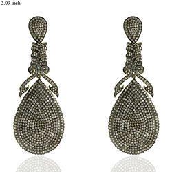 Handmade Pave Diamond Dangle Earrings Jewelry