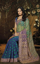 Blue+and+Shaded+Green+Color+Net+%26+Viscose+Saree+with+Blouse