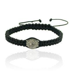 Diamond Bead Charm Macrame Bracelet