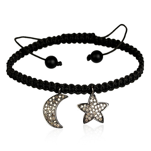 Moon & Star Charm Macrame Bracelet