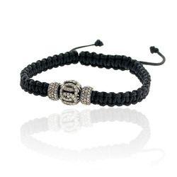 Silver Diamond Beads Macrame Bracelet