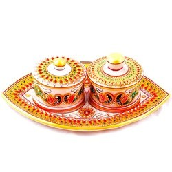 Marble Tray With Serving Bowls