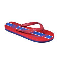 red and blue printed beach slipper