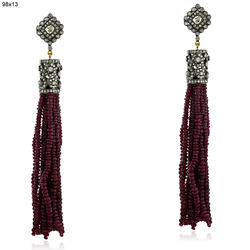 Ruby Gemstone Tassel Earring Jewelry