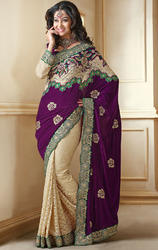 Purple+and+Cream+Velvet+%26+Net+Designer+Sarees+with+Blouse