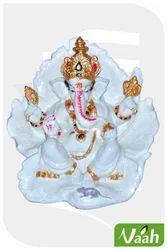 Vaah Resin White Golden Ganesha Leaf Statue