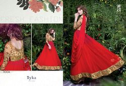Red Shaded Net Embroidery Party Wear Suit