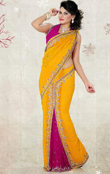 Yellow+%26+Rani+Pink+Faux+Chiffon+Georgette+Saree+with+Blouse