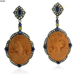 Blue Sapphire Pave Diamond Lava Cameo Earrings