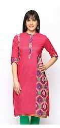 Camric Cotton Kurta With Printed Patch