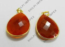 Red Onyx Bezel Setted Gold Plated Rings