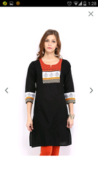 Classic Indo -Ethnic Kurta With Screen Print And Embroidery