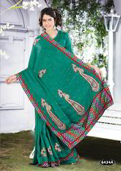 fabric designer printed silk saree
