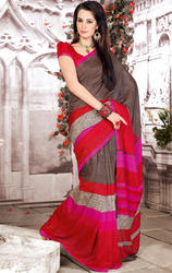 Brown+and+Red+Color+Art+Silk+Printed+Sarees+with+Blouse