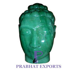 Green Buddha Head Stone Figure