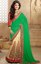 Butter+Cream+%26+Green+Color+Faux+Chiffon+and+Georgette+Saree