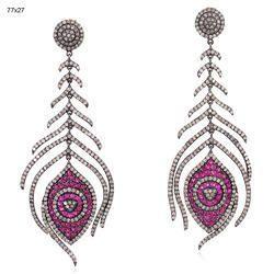 Ruby Gemstone Diamond Earring