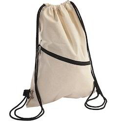 Cotton Drawstring Bag With Pocket