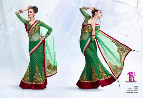 Mehndi Party Saree : Party wear sarees contrast designer net exporter from mumbai