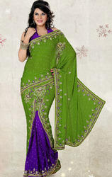Parrot+Green+%26+Purple+Color+Satin+Chiffon+Saree+with+Blouse
