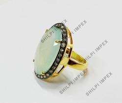 Aqua+Chalcedony+CZ+Setting+Gold+Plated+Silver+Ring