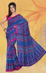 Blue%2C+Multi+Art+Bhagalpuri+Silk+Printed+Saree+with+Blouse