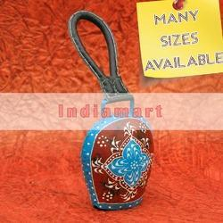 Blue and Red Small Gola Cow Bell with Leather Strap